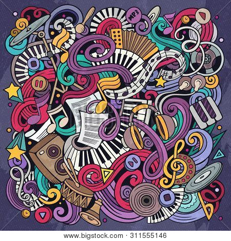 Music Hand Drawn Vector Doodles Illustration. Musical Poster Design