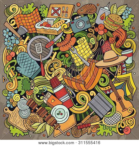 Picnic Hand Drawn Vector Doodles Illustration. Bbq Poster Design.
