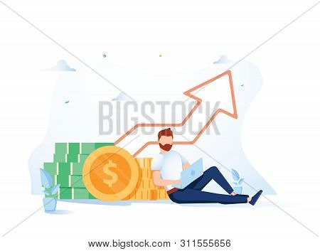 poster of Investment and Analysis Money Cash Profits Metaphor. Freelancer, Employee or Manager Making Investing Plans, Calculating Benefits on Laptop. Vector illustration Career Growth and Business Success