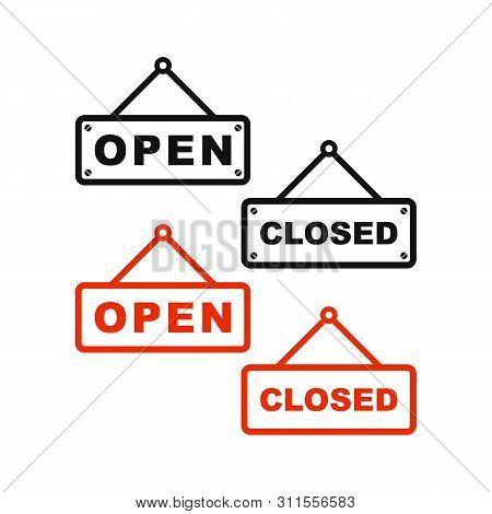 Open And Closed Icon Vector Isolated On White Background From Mall Collection. Open And Closed Icon