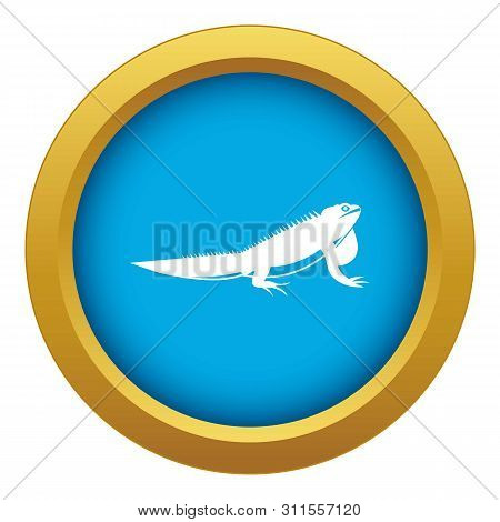 Iguana Icon Blue Vector Isolated On White Background For Any Design