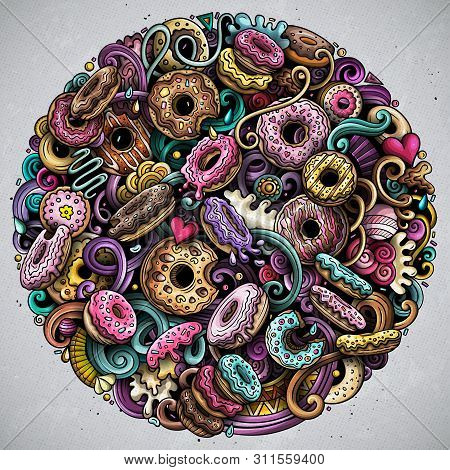 Donuts Hand Drawn Vector Doodles Round Illustration. Sweets Poster Design.
