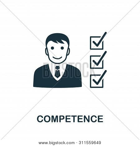 Competence Vector Icon Symbol. Creative Sign From Business Management Icons Collection. Filled Flat