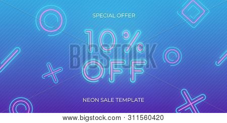 Sale Banner Neon Template. Neon Sale Discount Offer