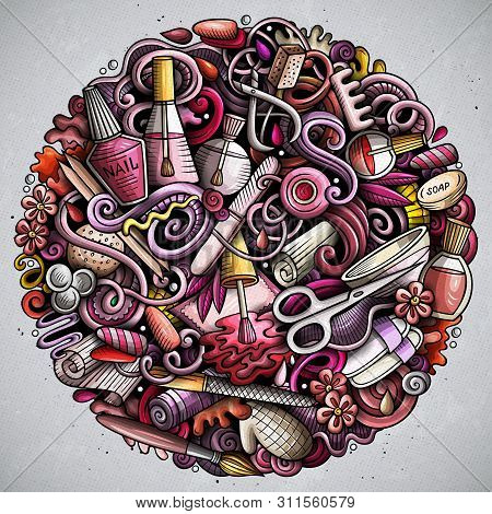 Nail Salon Hand Drawn Vector Doodles Round Illustration. Manicure Poster Design.
