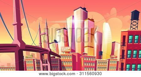Growing Future City Metropolis Background With Bridge At Old District Houses, Retro Architecture Bui