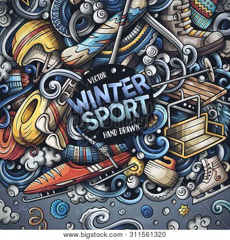 Winter Sports Hand Drawn Vector Doodles Illustration. Ski Resort Card Design