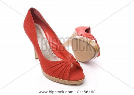 Stylish red womens shoes on white background