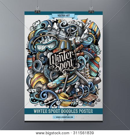 Winter Sport Doodles Poster Design. Ski Resort Sign Board Template.