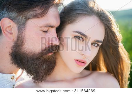 Kiss Each Other Teasing Enjoying Tenderness And Intimacy. Sensual Couple Enjoying Intimacy. Tenderne