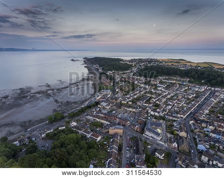 Editorial Swansea, Uk - July 14, 2019: Dusk Over Mumbles Village, A Tourist Location In South Wales,