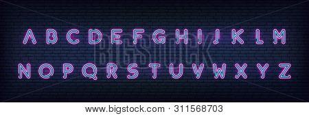 Neon Alphabet Font. Glowing Neon Colored 3d Modern Alphabet Typeface