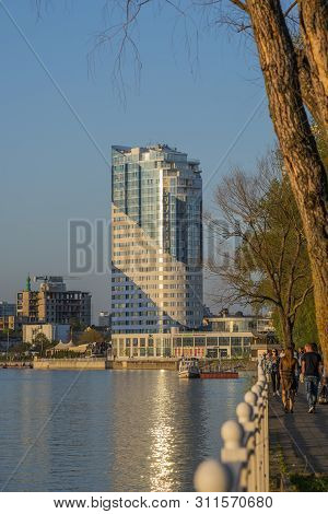 Krasnodar, Russia-may 5, 2019: Office Building On The Waterfront Of The Kuban