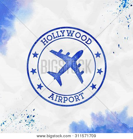Hollywood Airport Logo. Airport Stamp Watercolor Vector Illustration. Fort Lauderdale Aerodrome.