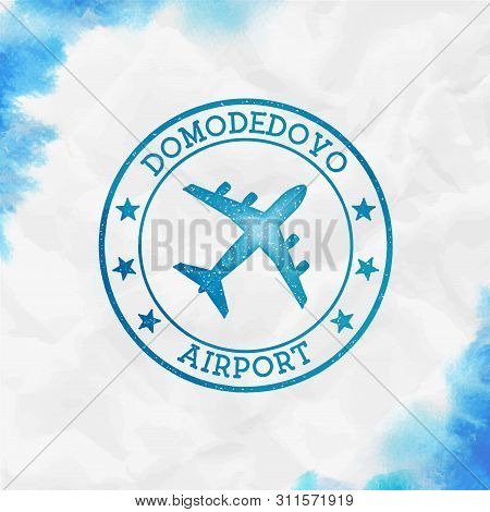 Domodedovo Airport Logo. Airport Stamp Watercolor Vector Illustration. Moscow Aerodrome.
