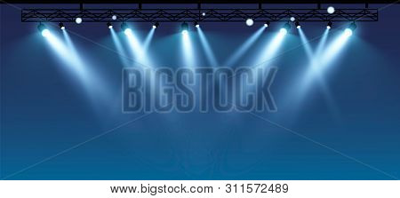 Vector Stage With Set Of Blue Spotlights. Blue Stage Lights.