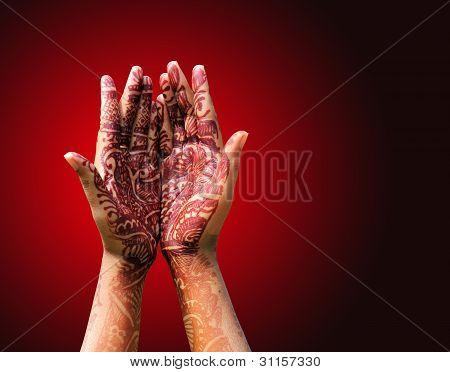 Henna (mehendi) Decoration On A Hindu Bride's Hand