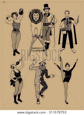 Circus Vintage Collection. The Lion Tamer, The Clown, The Circus Strong Woman, The Circus Magician,