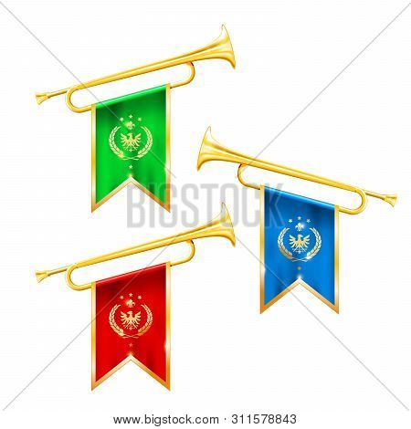 Fanfare Trumpets With Flags, Glory And Fame Symbol, Gold Trumpets