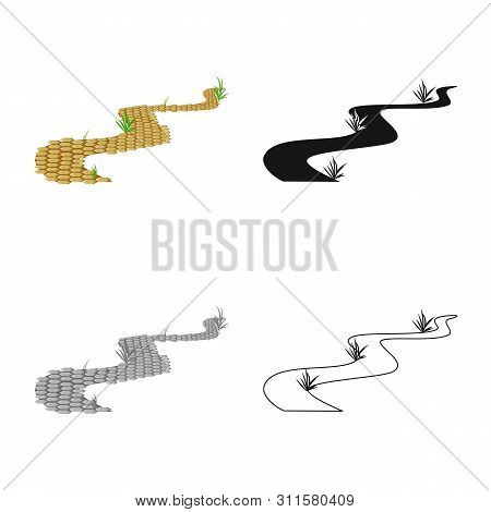 Vector Design Of Road And Scenery Icon. Collection Of Road And Footpath Stock Symbol For Web.