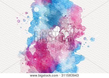 Artistic abstract watercolor paint wash background in a blend of pink and blue on textured white paper forming a central stripe