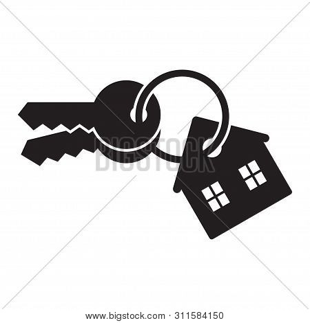 House Keys With Keychain. Real Estate Icon. Vector Illustration, Isolated On White Background