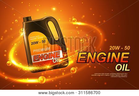 Car Engine Oil, Automobile Motor Lubricant Poster. Vector Premium Engine Oil Advertisement With Gold