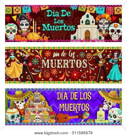 Dia De Los Muertos, Mexican Day Of Dead Celebration. Vector Calavera Skulls, Catholic Church, Candle
