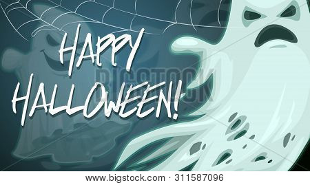 Halloween Night Party, Scary Monsters Poster. Vector Happy Halloween Greeting, Trick Or Treat Horror