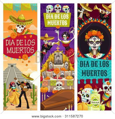 Day Of Dead Mexican Holiday Banners, Dia De Los Muertos Fiesta Celebration. Vector Dead Woman Dance