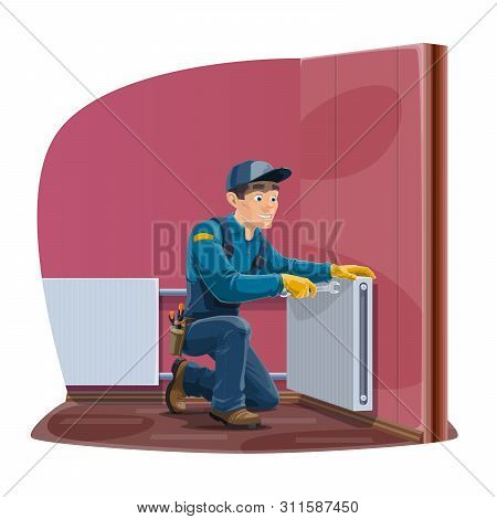 Radiator Repair, Home Heating Convector Installation Service. Vector Worker Man Or Repairman In Unif