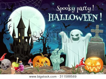 Halloween Spooky Party On Graveyard With Castle. Vector Scary Night With Ghost And Zombie Hand, Rip