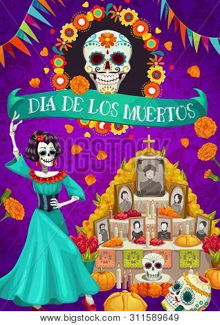 Dia De Los Muertos Mexican National Holiday And Altar With Photos Of Gone People. Vector Skull In Fl