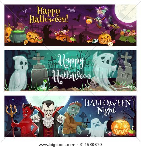 Happy Halloween Vector Greeting Banners Of Horror Night Ghosts, Monsters And Pumpkins At Cemetery. S