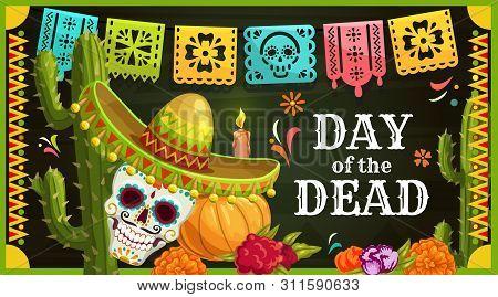 Day Of The Dead Mexican Sugar Skull With Sombrero Vector Greeting Card. Dia De Los Muertos Altar Wit