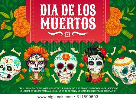 Day Of Dead Mexican Dia De Los Muertos Party Poster Of Woman With Calavera Skull Pattern. Vector Dia