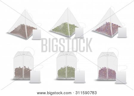 Tea Bag Pyramids With Labels, Realistic 3d Mockup Templates. Vector Isolated Teabags, Pyramids And R