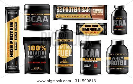 Sport Vitamins Containers Isolated, Bcaa Amino Acids, Food Supplement. Vector Whey Protein Concentra