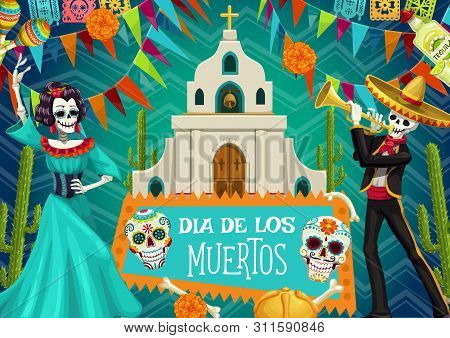 Day Of Dead Mexican Party, Dia De Los Muertos Poster. Vector Dead Man And Woman Skeletons Dancing, A