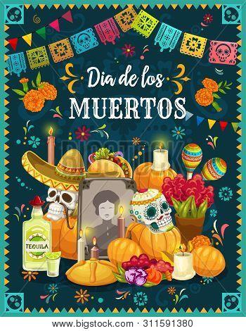 Dia De Los Muertos Altar With Sugar Skulls, Mexican Day Of The Dead Vector Design. Tombstone, Decora