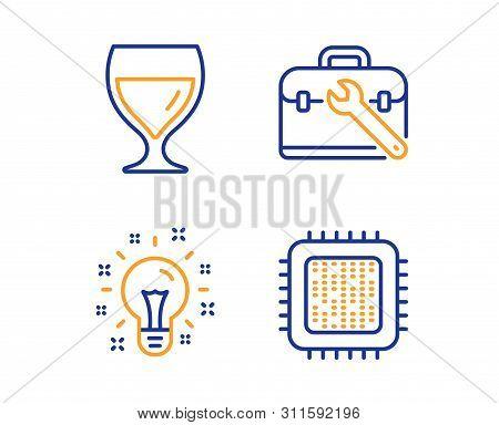 Tool Case, Idea And Wine Glass Icons Simple Set. Cpu Processor Sign. Repair Service, Creativity, Cab