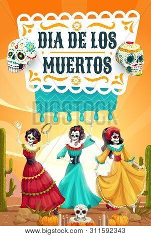 Day Of Dead, Mexican Dia De Los Muertos Fiesta, Woman Skeletons With Catrina Calavera Skulls Dancing
