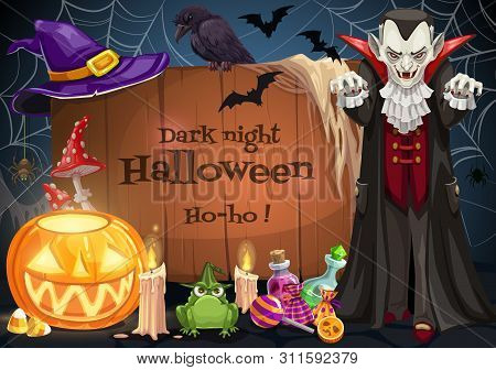 Halloween Dark Night Lettering On Wooden Board And Dracula Vampire. Vector Jack-o-lantern Pumpkin, B
