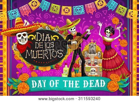 Day Of Dead, Dia De Los Muertos Fiesta, Skeleton In Mexican Costumes And Sombrero, Play Music And Da