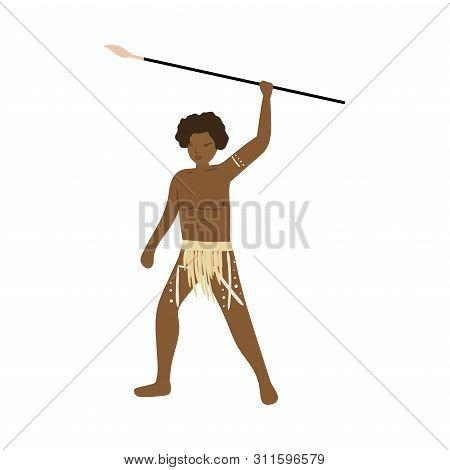 Aboriginal African Warrior Man With Long Metal Lance