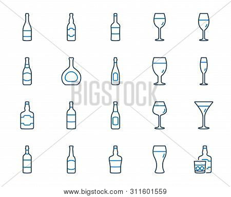 Wine Bottle Line Icons. Set Of Craft Beer, Whiskey And Wine Glass Icons. Champagne Bottle, Alcohol D