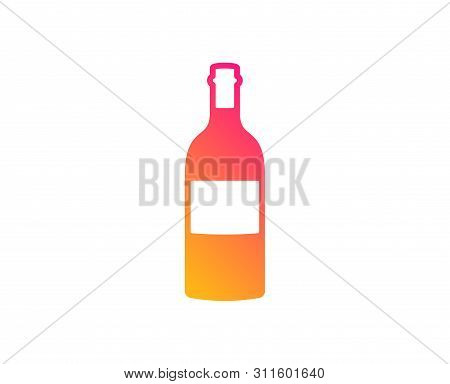 Wine Bottle Icon. Merlot Or Cabernet Sauvignon Sign. Classic Flat Style. Gradient Wine Bottle Icon.