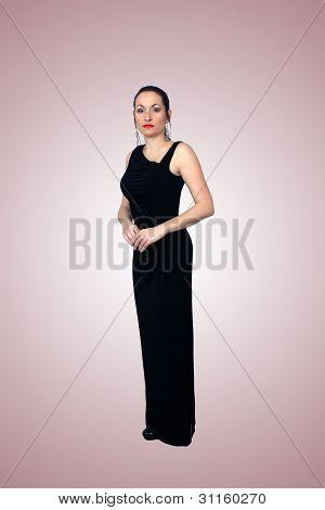 Beautiful Brunette Wearing A Long Black Dress (1)