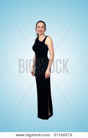 Beautiful Brunette Wearing A Long Black Dress (2)