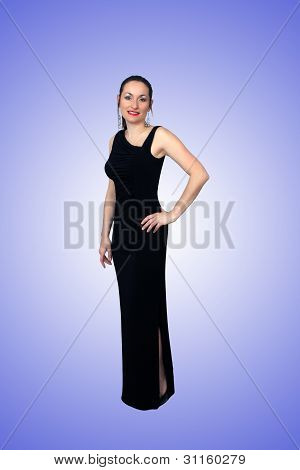 Beautiful Brunette Wearing A Long Black Dress (3)
